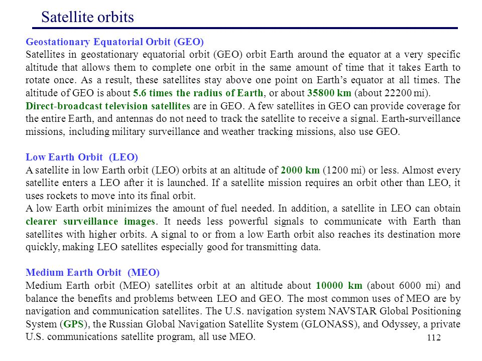 Satellite orbits Geostationary Equatorial Orbit (GEO)