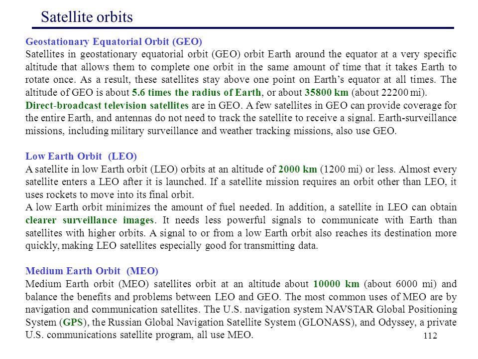 Satellite orbits Geostationary Equatorial Orbit (GEO)