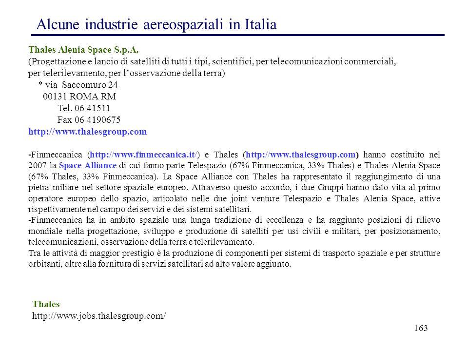 Alcune industrie aereospaziali in Italia