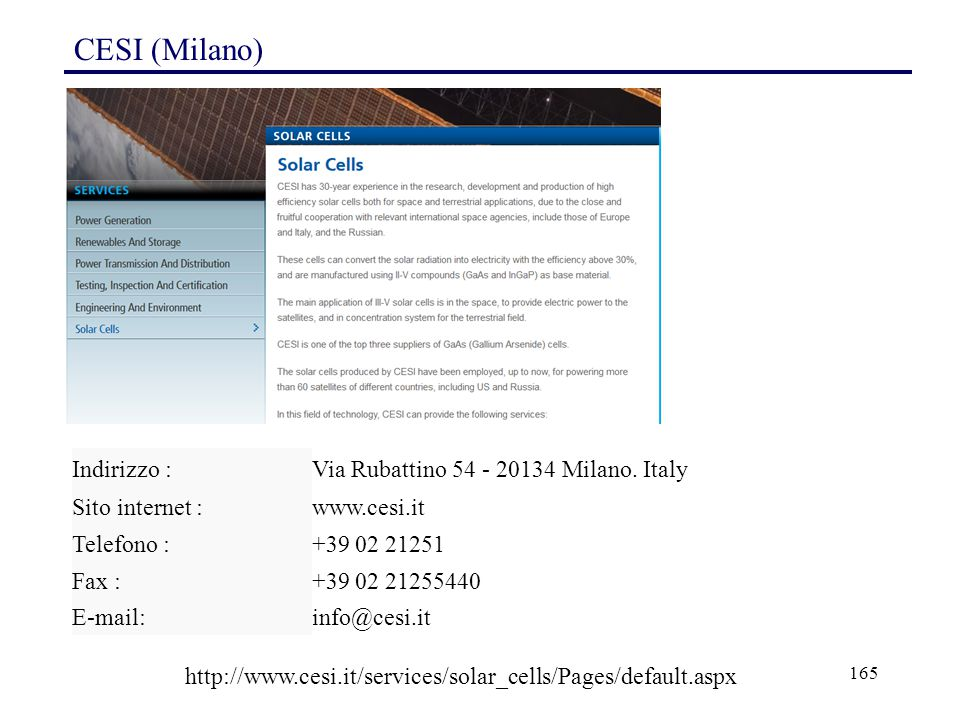 CESI (Milano) Indirizzo : Via Rubattino 54 - 20134 Milano. Italy