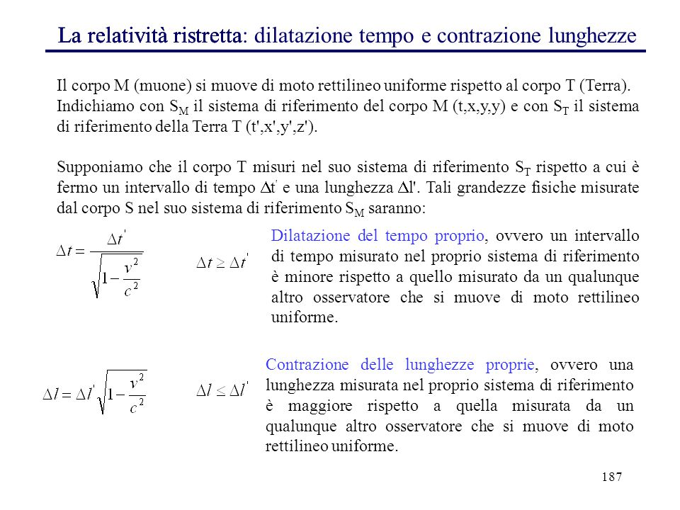 La relatività ristretta La relatività ristretta