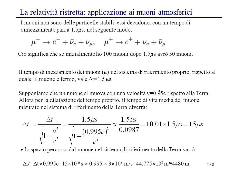 La relatività ristretta: applicazione ai muoni atmosferici