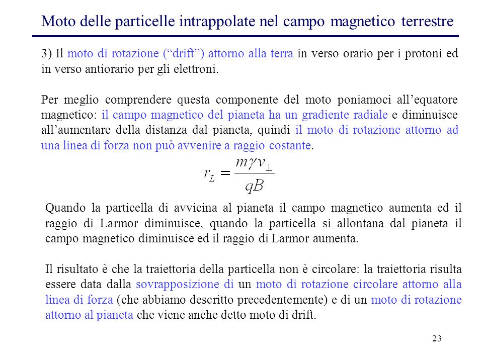 Moto delle particelle intrappolate nel campo magnetico terrestre