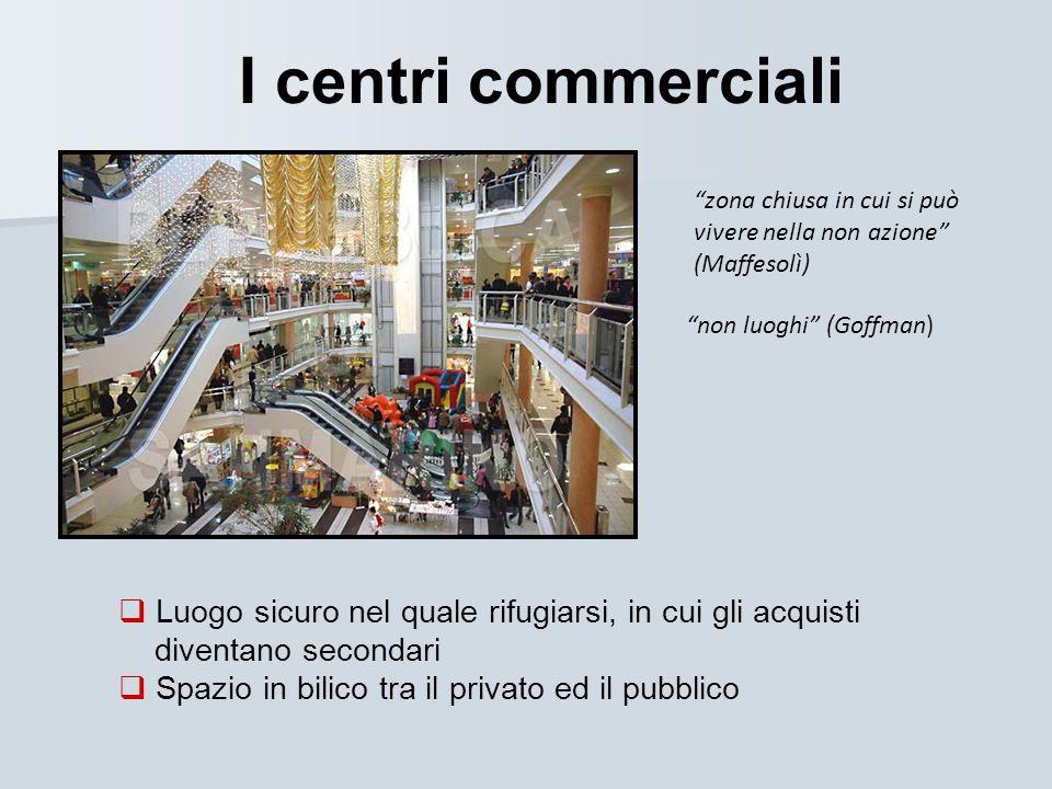 I centri commerciali zona chiusa in cui si può vivere nella non azione (Maffesolì) non luoghi (Goffman)