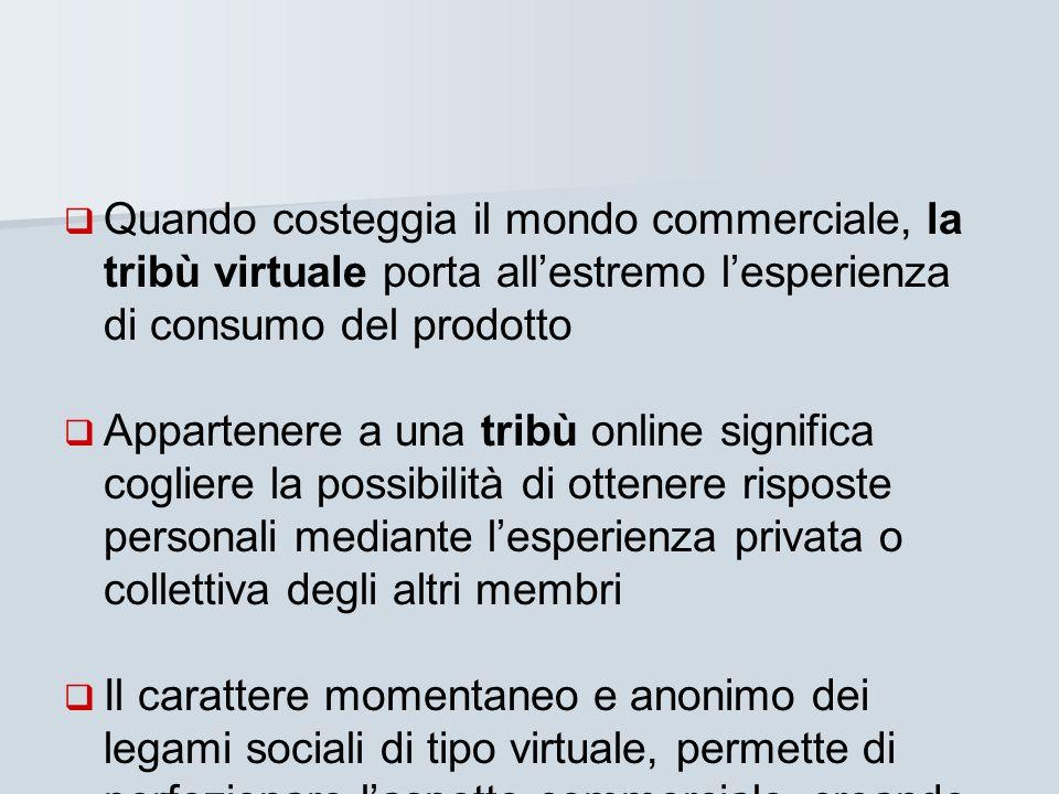 Quando costeggia il mondo commerciale, la tribù virtuale porta all'estremo l'esperienza di consumo del prodotto