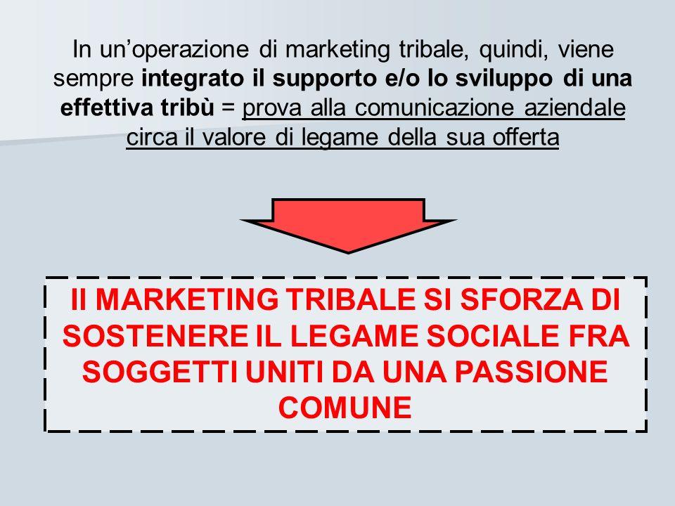 In un'operazione di marketing tribale, quindi, viene sempre integrato il supporto e/o lo sviluppo di una effettiva tribù = prova alla comunicazione aziendale circa il valore di legame della sua offerta