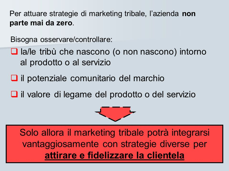 Per attuare strategie di marketing tribale, l'azienda non parte mai da zero.