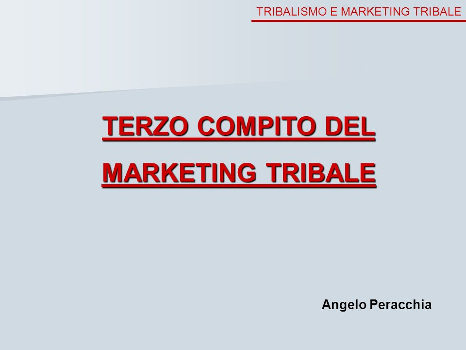 TERZO COMPITO DEL MARKETING TRIBALE