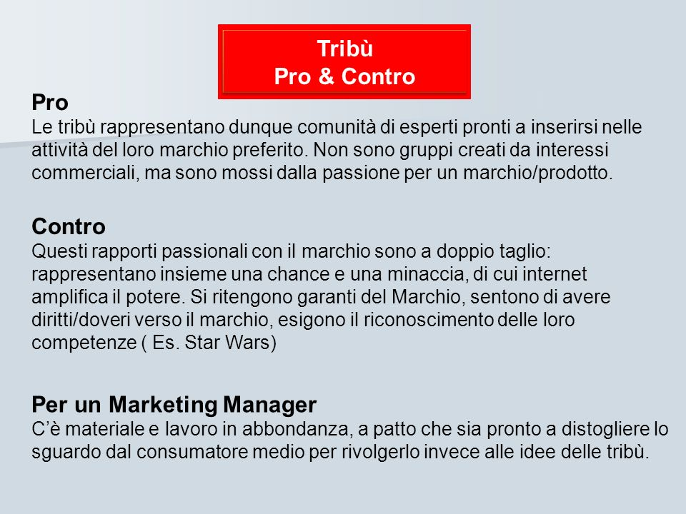 Per un Marketing Manager