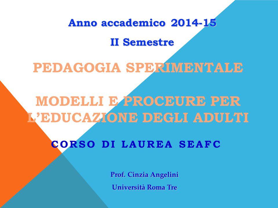Anno accademico 2014-15 II Semestre. Prof. Cinzia Angelini. Università Roma Tre.