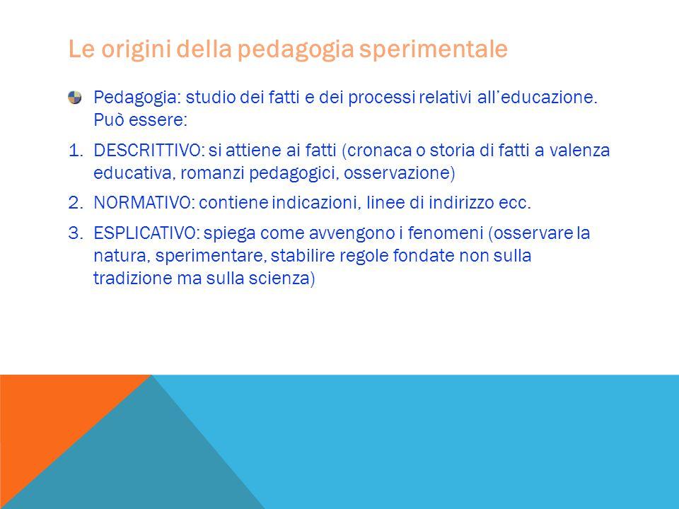 Le origini della pedagogia sperimentale