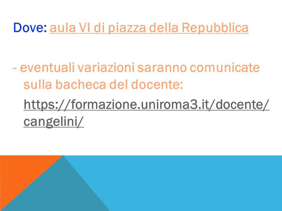 Dove: aula VI di piazza della Repubblica