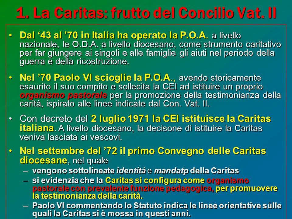 1. La Caritas: frutto del Concilio Vat. II