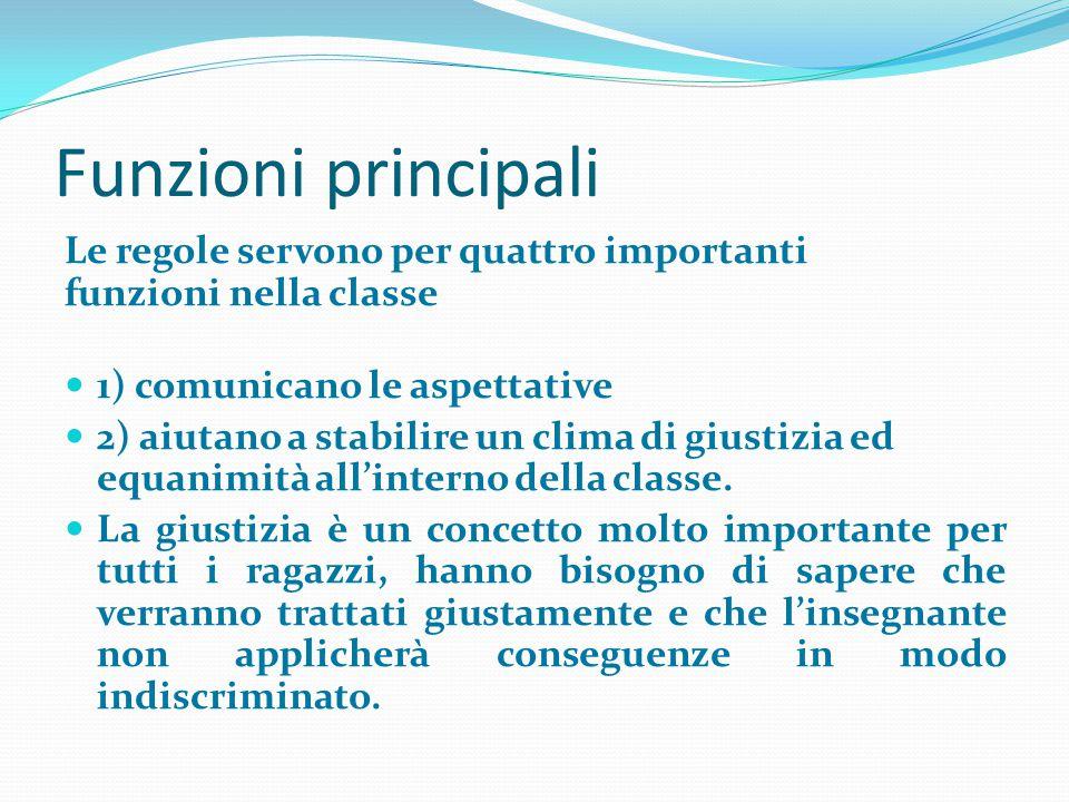 Funzioni principali Le regole servono per quattro importanti funzioni nella classe. 1) comunicano le aspettative.