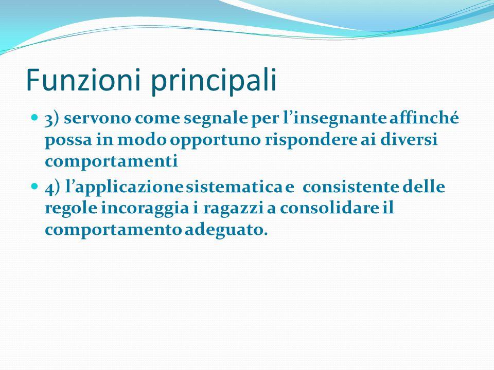 Funzioni principali 3) servono come segnale per l'insegnante affinché possa in modo opportuno rispondere ai diversi comportamenti.