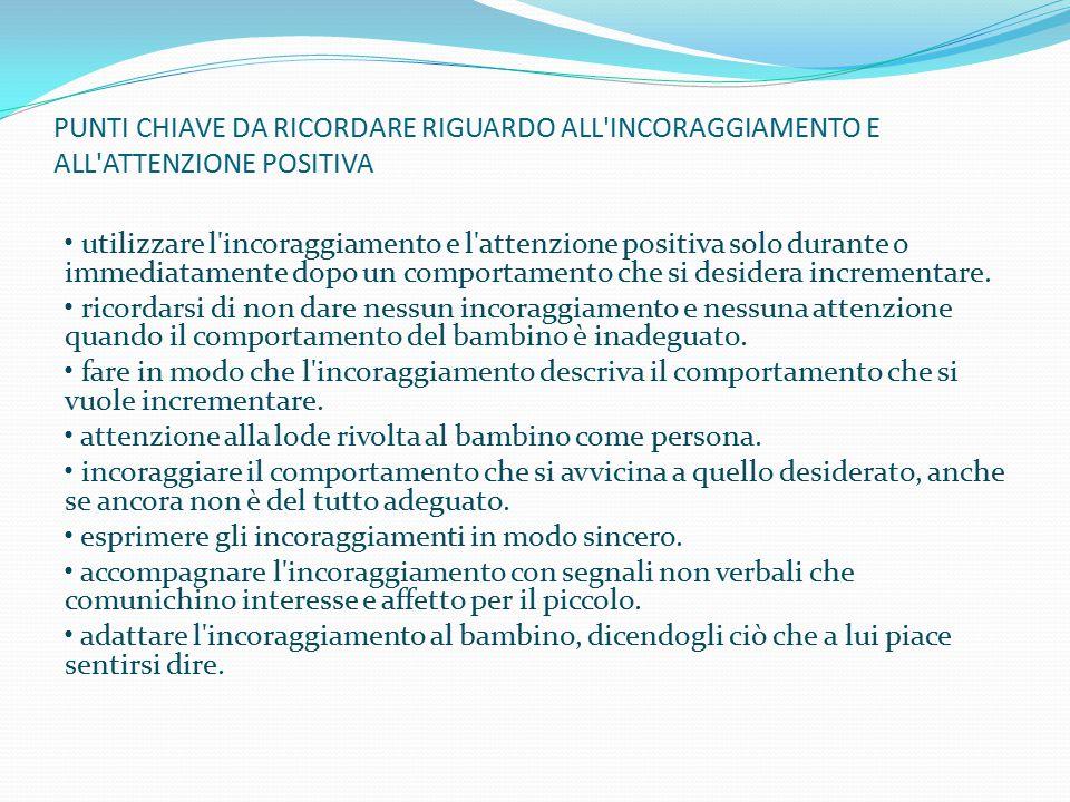 PUNTI CHIAVE DA RICORDARE RIGUARDO ALL INCORAGGIAMENTO E ALL ATTENZIONE POSITIVA