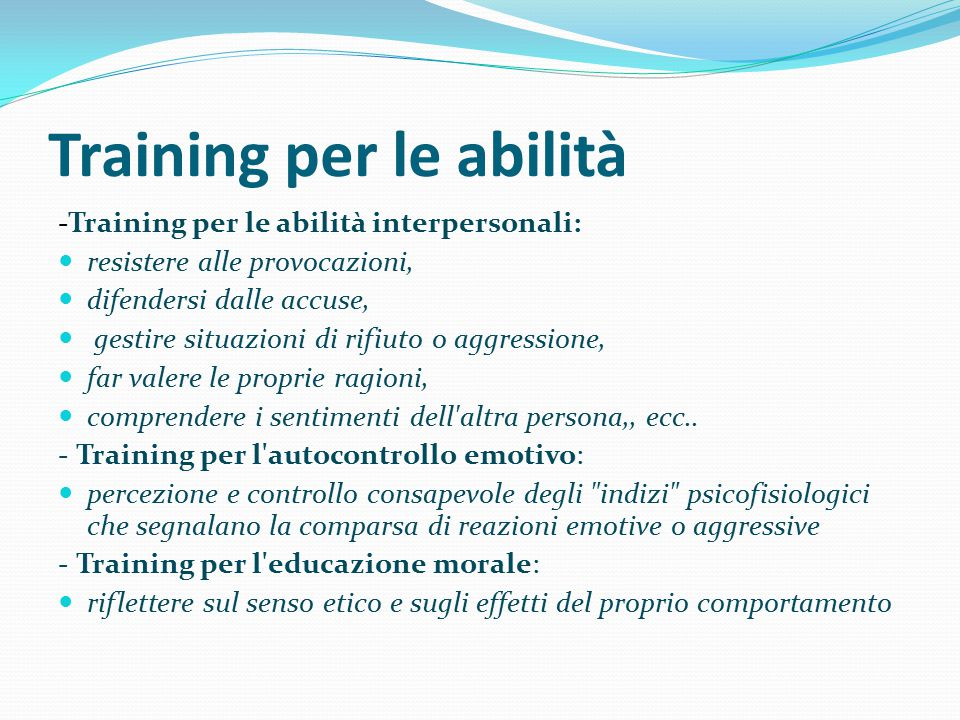 Training per le abilità