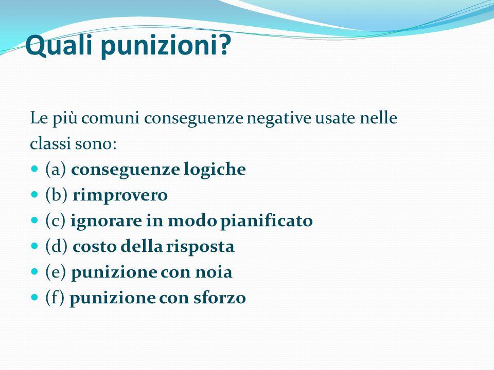 Quali punizioni Le più comuni conseguenze negative usate nelle