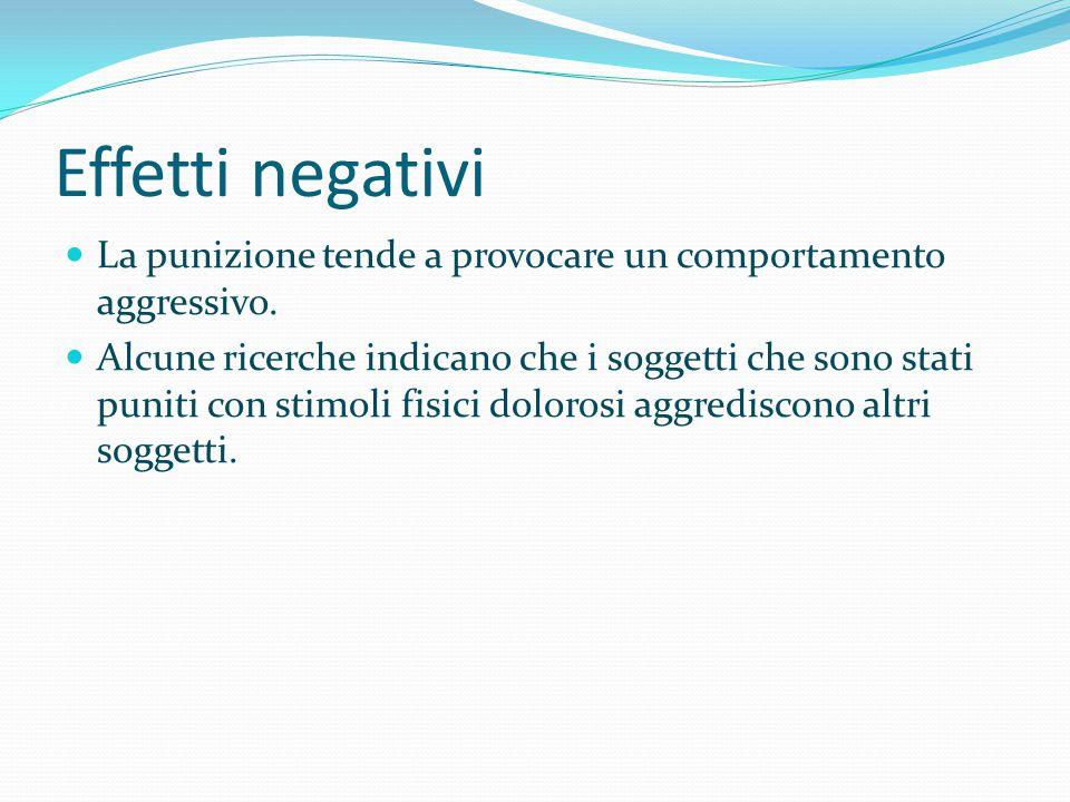 Effetti negativi La punizione tende a provocare un comportamento aggressivo.