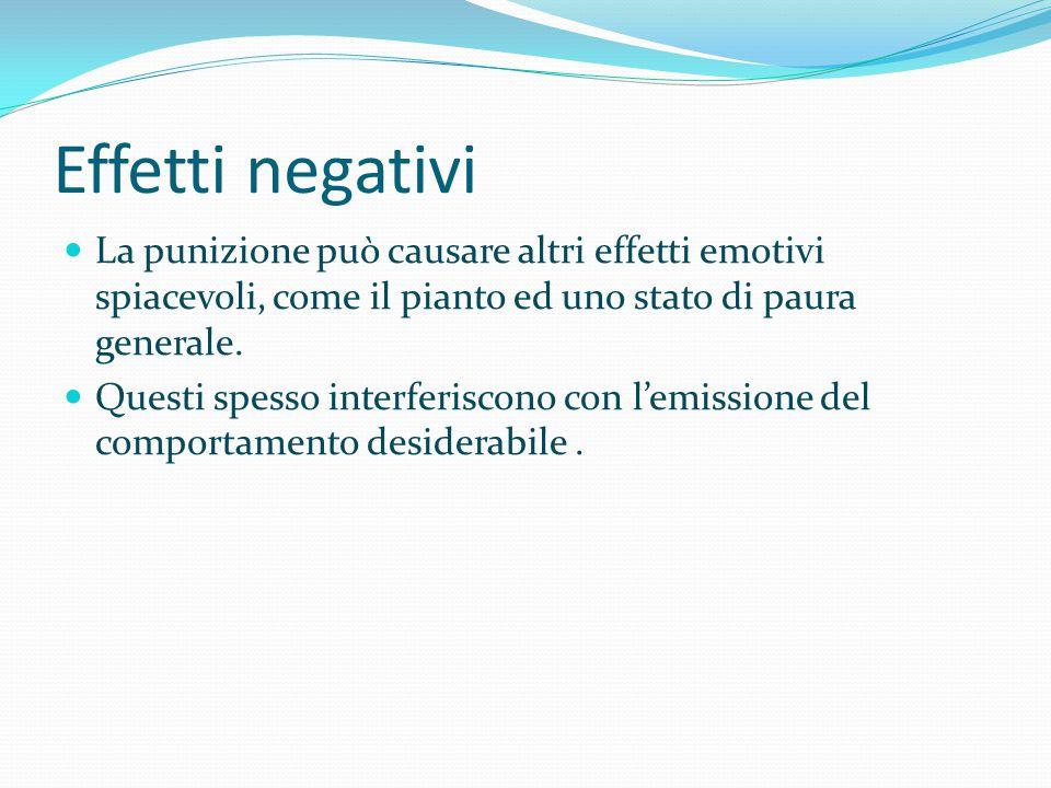 Effetti negativi La punizione può causare altri effetti emotivi spiacevoli, come il pianto ed uno stato di paura generale.