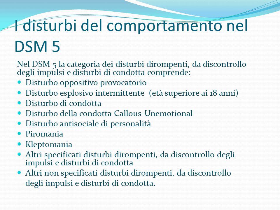 I disturbi del comportamento nel DSM 5