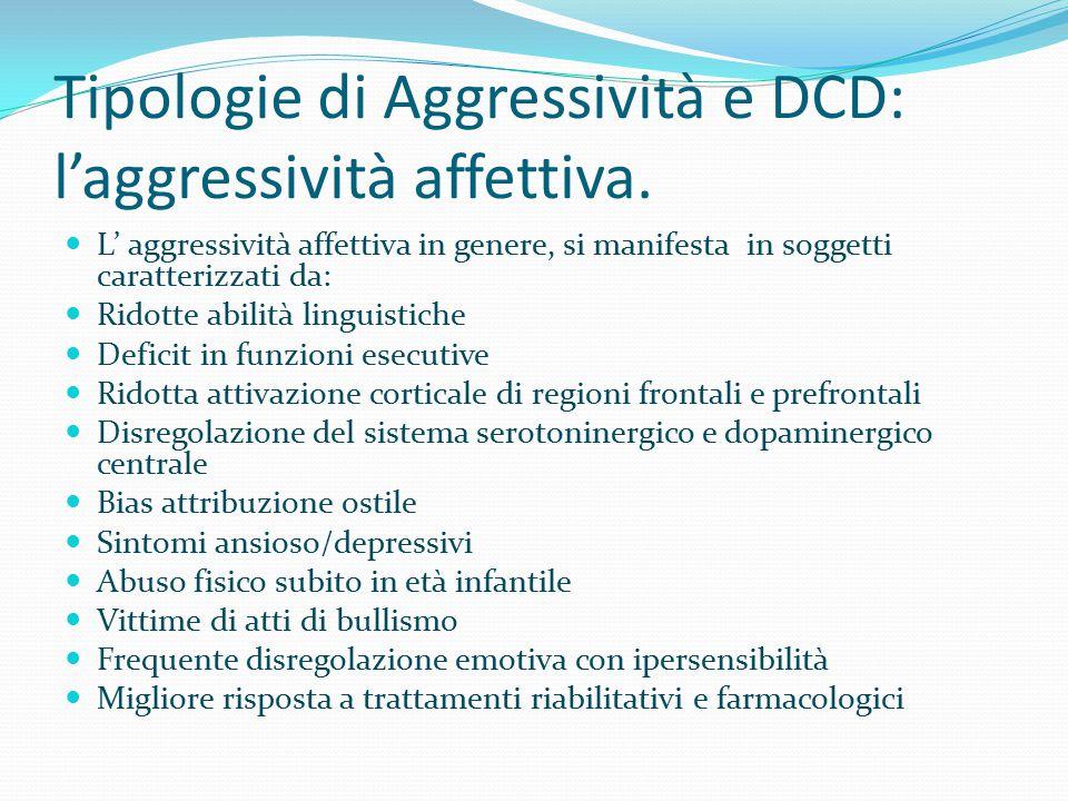 Tipologie di Aggressività e DCD: l'aggressività affettiva.