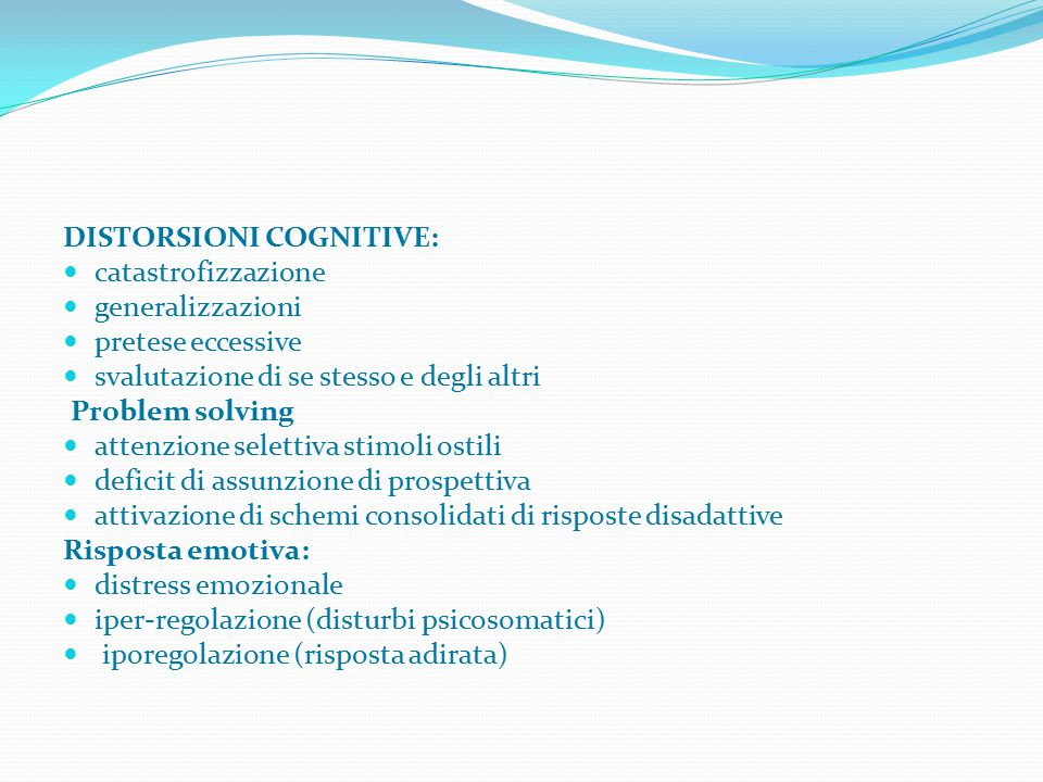 DISTORSIONI COGNITIVE: