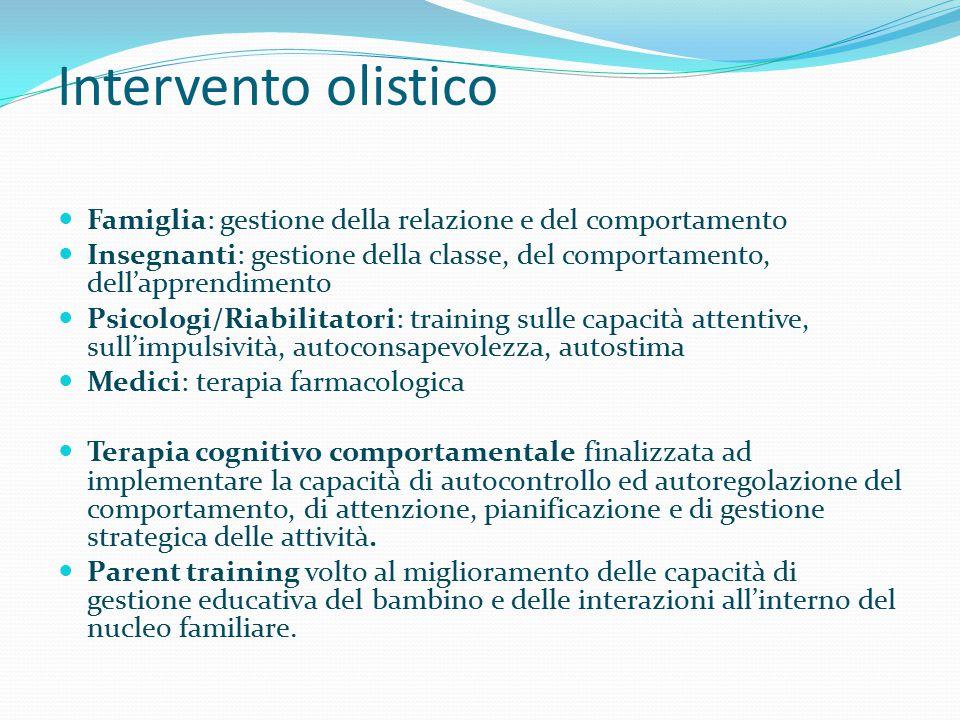 Intervento olistico Famiglia: gestione della relazione e del comportamento. Insegnanti: gestione della classe, del comportamento, dell'apprendimento.