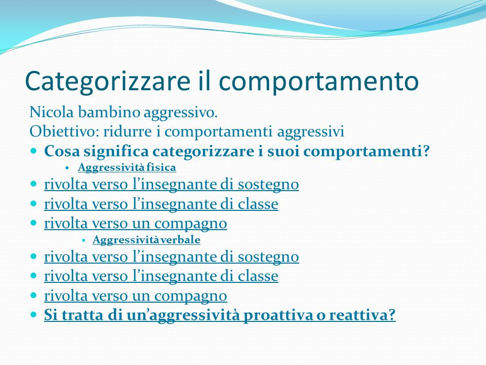 Categorizzare il comportamento
