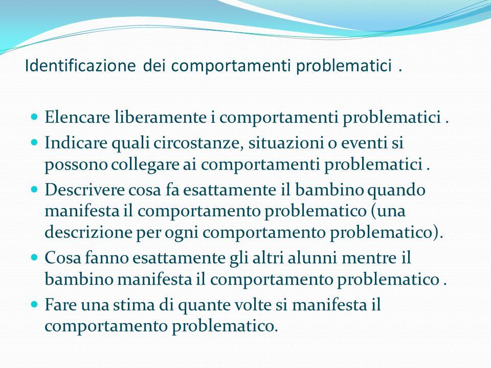 Identificazione dei comportamenti problematici .