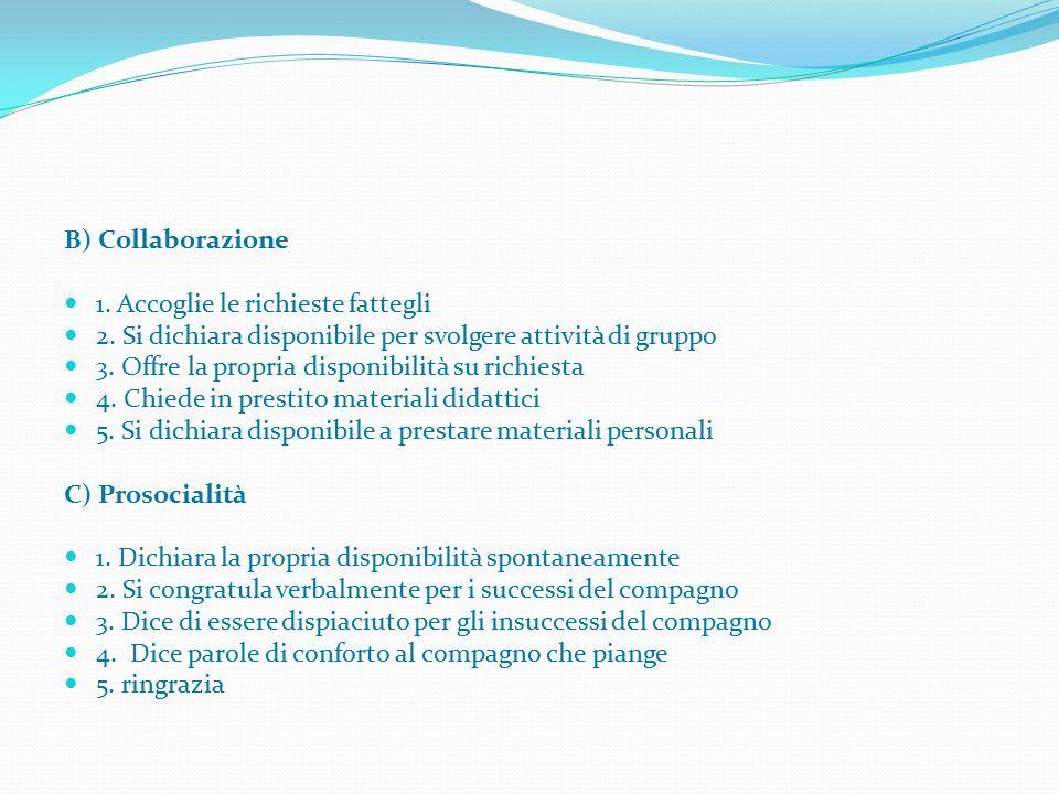 B) Collaborazione 1. Accoglie le richieste fattegli. 2. Si dichiara disponibile per svolgere attività di gruppo.