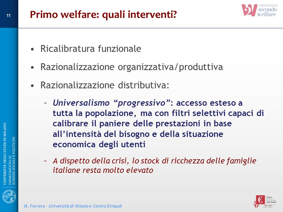Primo welfare: quali interventi