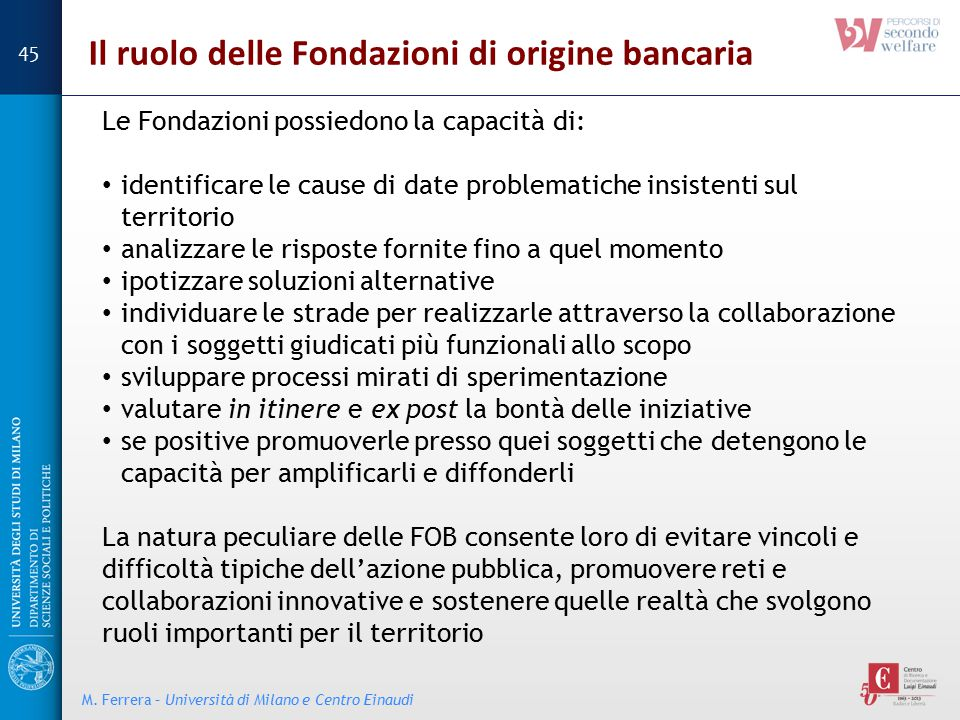 Il ruolo delle Fondazioni di origine bancaria