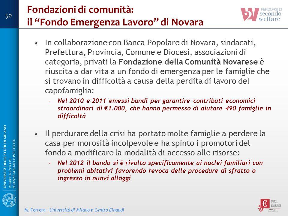 Fondazioni di comunità: il Fondo Emergenza Lavoro di Novara