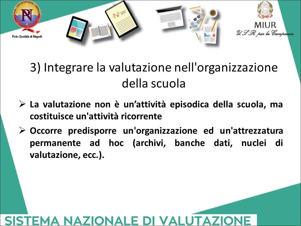 3) Integrare la valutazione nell organizzazione della scuola