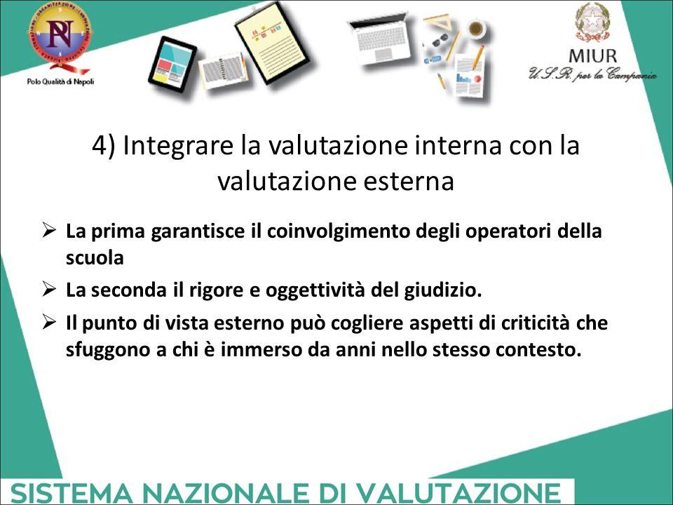 4) Integrare la valutazione interna con la valutazione esterna