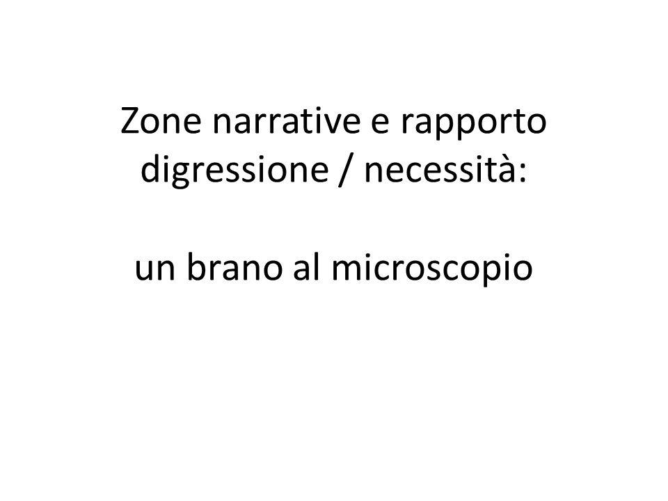 Zone narrative e rapporto digressione / necessità: un brano al microscopio