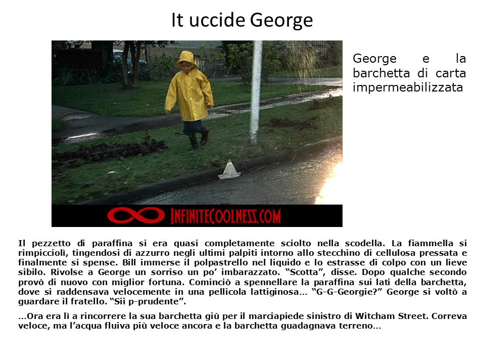 It uccide George George e la barchetta di carta impermeabilizzata