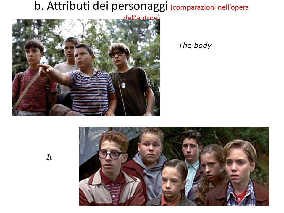 b. Attributi dei personaggi (comparazioni nell'opera dell'autore)