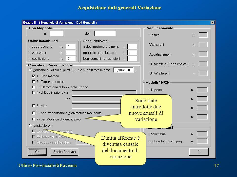 Acquisizione dati generali Variazione
