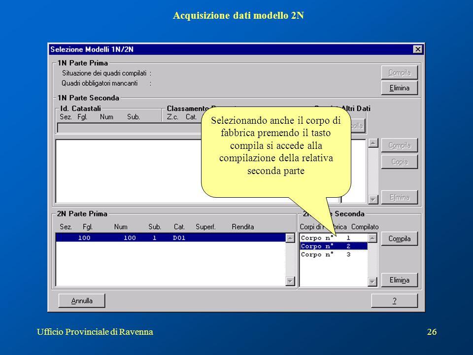 Acquisizione dati modello 2N