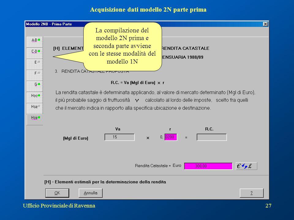 Acquisizione dati modello 2N parte prima