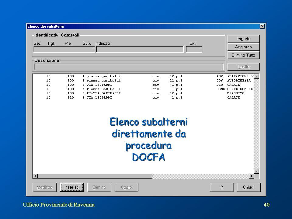 Elenco subalterni direttamente da procedura DOCFA