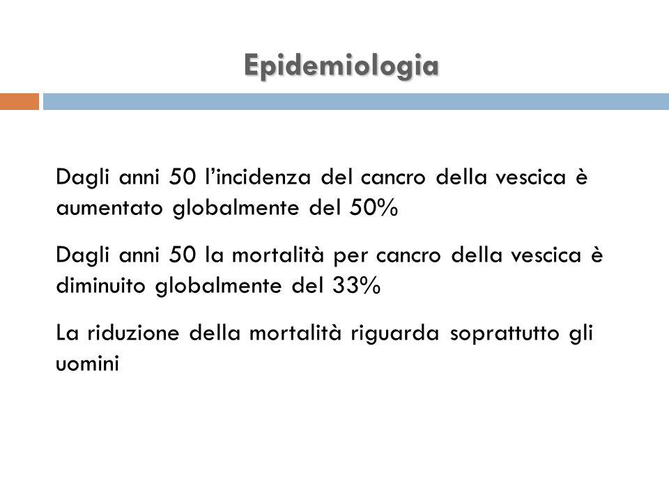 Epidemiologia Dagli anni 50 l'incidenza del cancro della vescica è aumentato globalmente del 50%