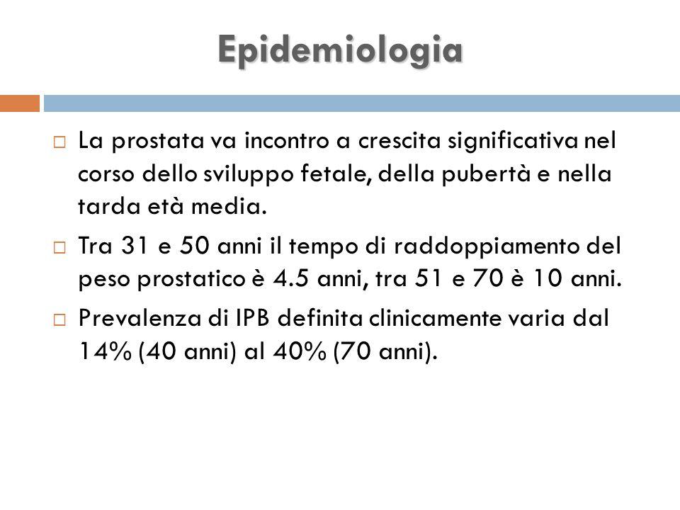 Epidemiologia La prostata va incontro a crescita significativa nel corso dello sviluppo fetale, della pubertà e nella tarda età media.