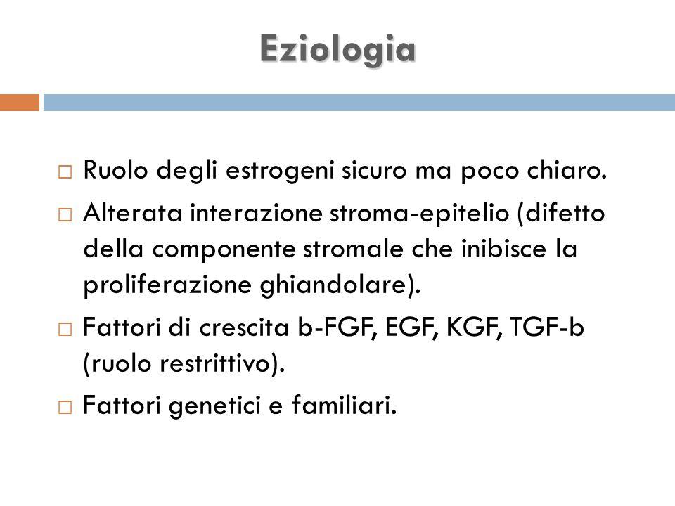 Eziologia Ruolo degli estrogeni sicuro ma poco chiaro.