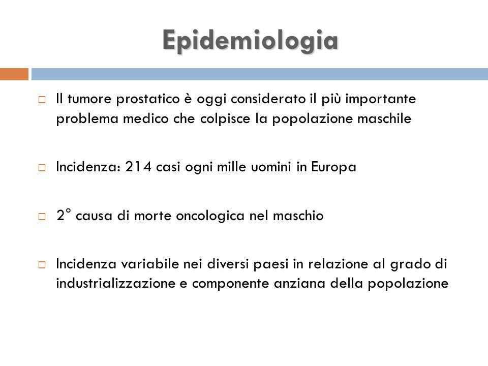 Epidemiologia Il tumore prostatico è oggi considerato il più importante problema medico che colpisce la popolazione maschile.