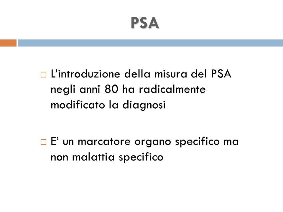 PSA L'introduzione della misura del PSA negli anni 80 ha radicalmente modificato la diagnosi.