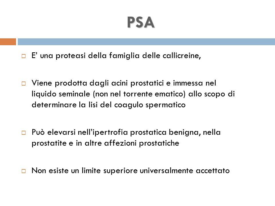 PSA E' una proteasi della famiglia delle callicreine,