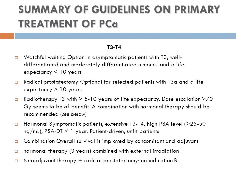 SUMMARY OF GUIDELINES ON PRIMARY TREATMENT OF PCa